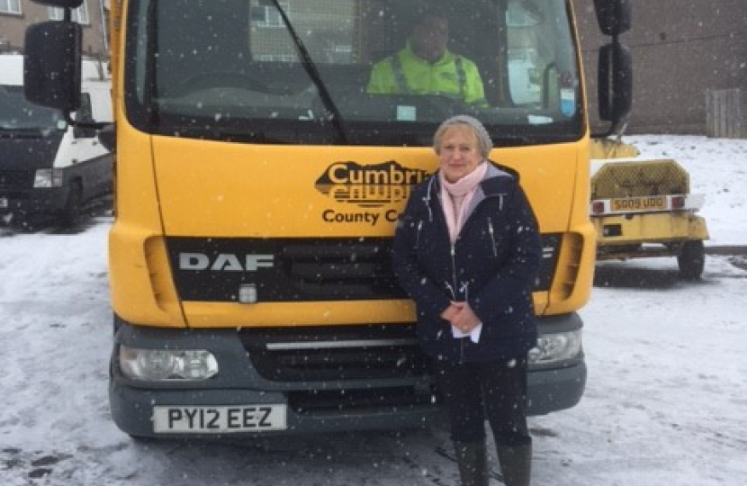 Councillor Sheila Capstick with the delivery of grit she secured from Cumbria County Council.
